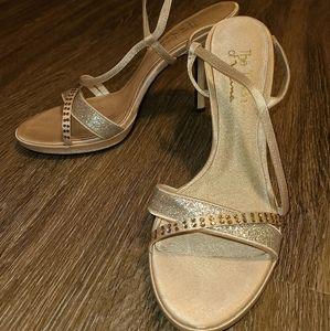 The Touch of Nina Gold Rhinestone Glitter Heels